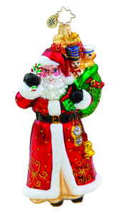 RADKO 1015565 TIMELY DELIVERY - SANTA WITH BAG OF GIFTS ORNAMENT - NEW 2011 (11-13)