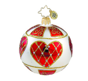 RADKO 1015845 RUSSIAN HEARTS MINI - VINTAGE BALL AND DROP COLLECTION - BALL ORNAMENT - NEW 2011 (11-14)
