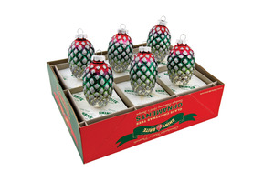 RADKO 4025043 SHINY BRITE - 6 COUNT VINTAGE SILVER PINECONES - ASSORTMENT 6 - NEW FOR 2011