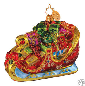 RADKO 1014300 ST PETERSBURG SLEIGH - JEWELED - PRESENTS - RETIRED ORNAMENT (G4)
