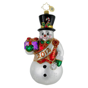 RADKO 1016388 WATCHFUL AND WISE - DATED 2012 - SNOWMAN ORNAMENT (12-2)