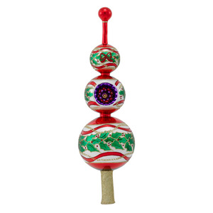 RADKO 1016376 HOLLY WREATH FINIAL - HOLLY WITH REFLECTOR - TREE TOPPER - NEW 2012 (F4)