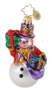 RADKO 1015081 FROSTY VAGABOND GEM - SNOWMAN WITH GIFTS ORNAMENT - RETIRED (18)