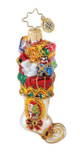 RADKO 1015095 FESTOONED FOOT FLAIR GEM - STOCKING - RETIRED ORNAMENT (18)