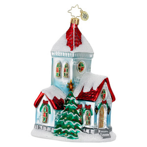 RADKO 1016151 A VERY MERRY MASS - SNOW COVERED CHURCH ORNAMENT - NEW 2012 (12-10)
