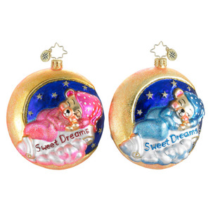 RADKO 1016098 GOODNIGHT MOON - PINK SLEEPING BEAR - SWEET DREAMS - BABY GIRLS ORNAMENT - NEW FOR 2012 (12-8)