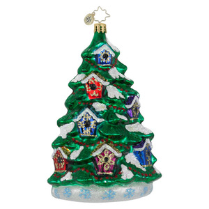 RADKO 1016105 FOR THE BIRDS - CHRISTMAS TREE WITH BIRD HOUSES ORNAMENT - NEW FOR 2012 (12-8)
