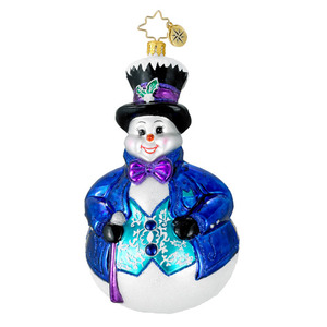 RADKO 1016119 MAYOR SNOWFROST - SNOWMAN IN TOP HAT ORNAMENT - NEW 2012 (12-9)
