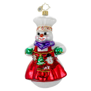 RADKO 1016127 GARLAND OF GOODIES - BAKING SNOW WOMAN WITH COOKIES ORNAMENT - NEW 2012 (12-9)