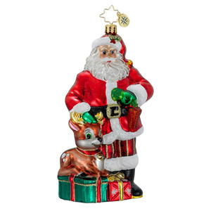 RADKO 1016187 SANTA'S LITTLE HELPER - SANTA & REINDEER ORNAMENT - NEW 2012 (12-11)