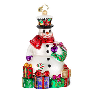 RADKO 1016250 FOR ONE AND ALL - SNOWMAN WITH WREATH & PRESENTS ORNAMENT - NEW 2012 (12-13)