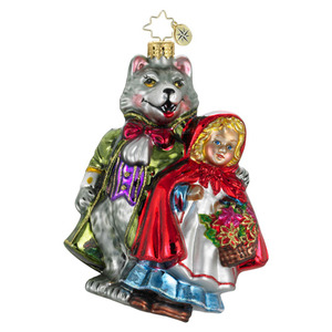 RADKO 1016097 WHAT BIG EYES YOU HAVE! - FANCIFUL TALES - RED RIDING HOOD & THE BIG BAD WOLF ORNAMENT - NEW 2012 (12-8)