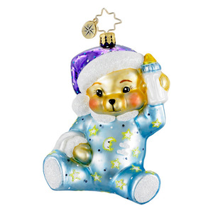 RADKO 1016009 SWEET DREAMS BLUE - BABY BEAR WITH BOTTLE ORNAMENT - NEW 2012 (12-5)