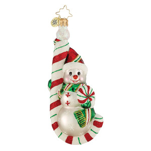 RADKO 1016010 HANG ON SWEETIE - SNOWMAN ON CANDY CANE ORNAMENT - NEW 2012 (12-5)