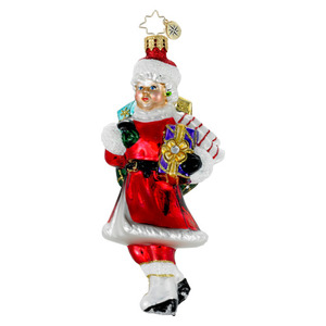 RADKO 1016030 SKATING MRS CLAUS - IN SANTA SUIT ORNAMENT - NEW 2012 (12-6)