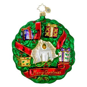 RADKO 1016077 GIFTS ALL AROUND - WREATH WITH CANDLE & PRESENTS ORNAMENT - NEW FOR 2012 (12-7)