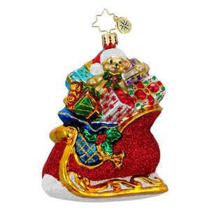 RADKO 1016348 PRESENTS AND PARCELS - SLEIGH FULL OF BAG OF PRESENTS ORNAMENT - NEW 2012 (12-16)
