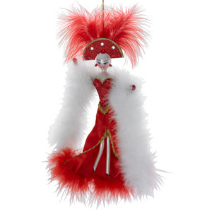 RADKO 1016341 RED TO TOE - FEATHERED LADY WITH STOLE - ITALIAN ORNAMENT - NEW 2012 (12-16)