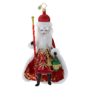 RADKO 1016345 DAYS OF YORE - SANTA WITH CAPE & STAFF - ITALIAN ORNAMENT - NEW 2012 (12-16)