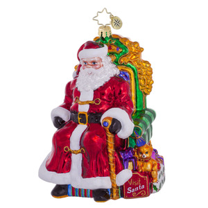 RADKO 1016517 WORTH THE WAIT - SANTA IN CHAIR - SIGNED BY BOTH ARTISTS - DESIGNER'S SIGNING EVENT ORNAMENT - NEW 2012 (12-2)