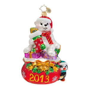 RADKO 1016565 PAUL AND PENNY - DATED 2013 - POLAR BEAR & PENGUIN ORNAMENT - NEW 2013 (13-2)