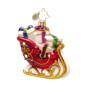 RADKO 1017017 SCARLET RUNNER GEM - JEWELED SLEIGH - NEW 2013 (21-1)