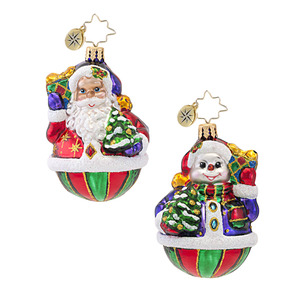 RADKO 1016747 A FESTIVE PAIR GEM - 2 SIDED SANTA & SNOWMAN ORNAMENT - NEW 2013 (21)