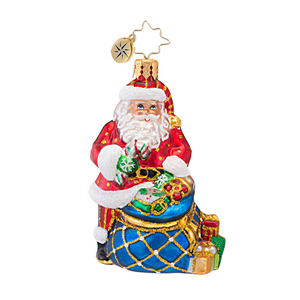 RADKO 1016765 TWINKLING TOTE GEM - SANTA WITH BAG ORNAMENT - NEW 2013 (21)