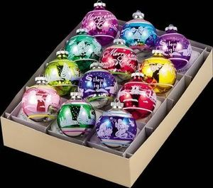RADKO 4001230 SHINY BRITE - FLOCKED SIGNATURE BALLS - ASST 12 - RETIRED ORNAMENTS