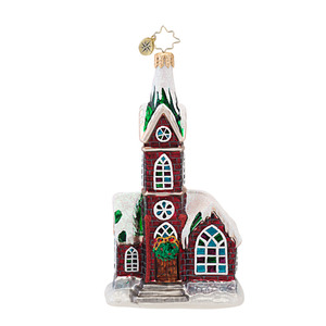 RADKO 1016950 A PLACE TO PRAY - SNOW COVERED CHURCH ORNAMENT - NEW 2013 (13-19)