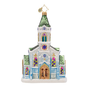 RADKO 1016951 HEAVENLY HALLS - GREEN ROOF CHURCH ORNAMENT - NEW 2013 (13-19)
