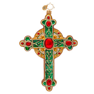 RADKO 1017016 TRADITIONAL ROOD - RELIGIOUS - GREEN CROSS ORNAMENT - NEW 2013 (13-21)