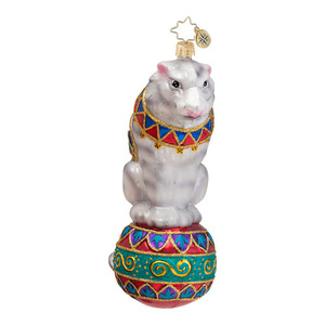 RADKO 1016620 STAR OF THE SHOW - CIRCUS TIGER ON BALL ORNAMENT - NEW 2013 (13-9)