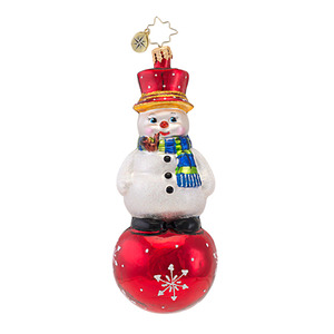 RADKO 1016953 SNOW AND BEHOLD - CLASSIC RADKO SNOWMAN ON BALL ORNAMENT - NEW 2013 (13-19)