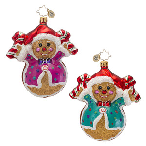 RADKO 1016859 FRED AND GINGER - 2 SIDED BOY & GIRL GINGERBREAD ORNAMENT - NEW 2013 (13-17)