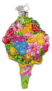 RADKO 1011601 FLOWER POWER - BREAST CANCER ORNAMENT - RETIRED (FF)