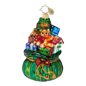 RADKO 1016567 ALL I WANT FOR CHRISTMAS - GREEN BAG OF TOYS & GIFTS ORNAMENT - NEW 2013 (13-7)