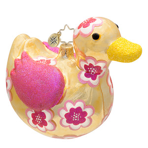 RADKO 1016911 QUACKY - DUCK - PATTERNED ANIMAL COLLECTION ORNAMENT - NEW 2013 (13-18)