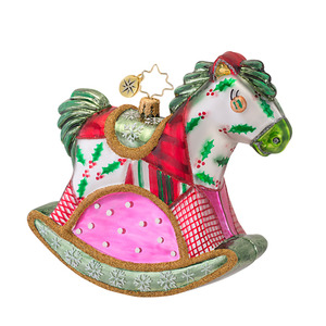 RADKO 1016769 QUILTY QUENTIN - QUILTED ROCKING HORSE ORNAMENT - NEW 2013 (13-13)