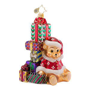 RADKO 1016690 ALL STACKED UP - TEDDY BEAR & STACK OF PRESENTS ORNAMENT - NEW 2013 (13-11)