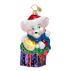 RADKO 1016537 MAX'S SNACK PACK - MOUSE WITH CHEESE ON PRESENT ORNAMENT - NEW 2013 (13-6)