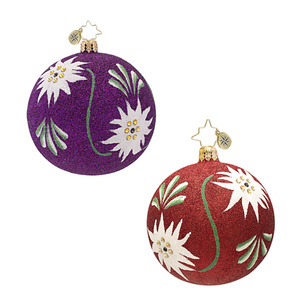 RADKO 1016997 SOLID GLITTER FLORAL - PURPLE BALL ORNAMENT - NEW 2013 (13-20)