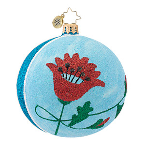 RADKO 1016991 POPPY - BLUE FLOWER BALL ORNAMENT - NEW 2013 (13-20)