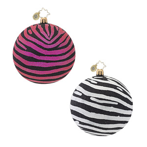 RADKO 1016998 ZEBRA GLITTER - RED BALL ORNAMENT - NEW 2013 (13-20)