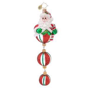 RADKO 1016861 PEPPERMINT PAPA - CANDY SANTA WITH 2 CANDY DANGLES ORNAMENT - NEW 2013 (13-17)