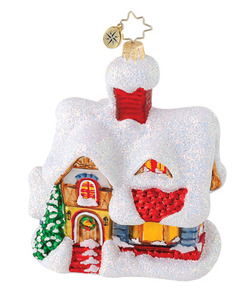RADKO 1015121 COZY COTTAGE - SNOW COVERED HOUSE ORNAMENT - RETIRED (Q10)