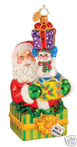 RADKO 1014496 FROM TWO TO YOU - SANTA - SNOWMAN - RETIRED ORNAMENT (G1)