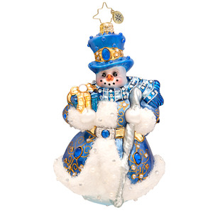 RADKO 1017510 WINTER FROST DIAMOND - LUXE COLLECTION - JEWELED SNOWMAN WITH TOP HAT AND STAFF ORNAMENT - NEW 2014 (14-1)(14-15)