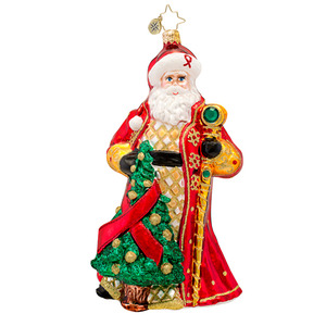 RADKO 1017471 RUBY REMEMBRANCE - HIV/AIDS AWARENESS - JEWELED SANTA WITH STAFF ORNAMENT - NEW 2014 (14-1)