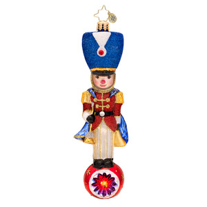 RADKO 1017477 TOY SOLDIER TOPPER - PEDIATRIC CANCER AWARENESS - TOY SOLDIER ON BALL ORNAMENT - NEW 2014 (14-1)